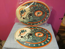 Lot 12 New Miami Dolphins football placemats party man cave gift OLD LOGO Marino
