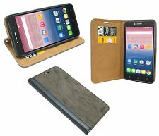"Alcatel Pixi 4 (6.0"") // Book Style funda libro case funda cascara antracita"