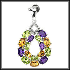 NATURAL MULTI COLOR AMETHYST CITRINE PERIDOT & TOPAZ STERLING 925 SILVER PENDANT
