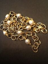 "VERONESE 30"" Large Link 18K Gold Clad Italy Pearl Necklace 925"