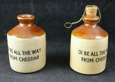"""Pair of """"Oi Be All The Way From Cheddar"""" Stoneware Pots,  8cm tall, Somerset"""