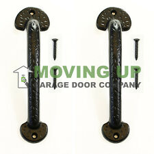"Garage Door Decorative Colonial Pull Handles 9"" Cast Iron Set of 2 + Hardware"