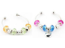 Lots 2pc Slap-up  crystal silver European beaded charms designed bangle Bracelet