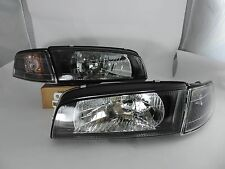 97-98 Lancer Evolution Evo4 IV 4 Black Head Light Black Corner Mirage Headlights