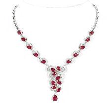 925 Sterling Silber Collier/Halskette, NATURAL ROTER RUBIN & WEIß ZIRCONIA, NEU