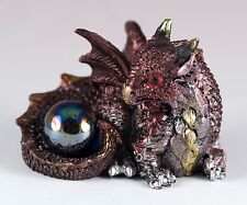 "Brown Mini Dragon With Blue Marble Gem 2.25"" Long Detailed Resin New!"