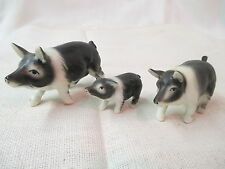 Vintage miniature 3 bone china Figurines black & white Pigs Family