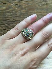 Stunning Vintage Style Rhinestone Dress Ring/Crystal Statement/Cocktail/Yellow