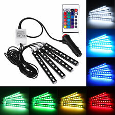 4x 9LED Remote Control Colorful RGB Car Interior Floor Atmosphere Light Strip ba