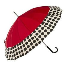New Shed Rain Stick Large Fashion Umbrella Auto Open RED & Black Polka Dot gift
