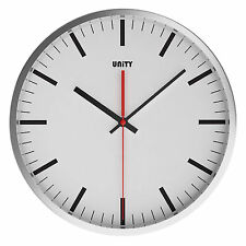 UNITY ABBERTON SILENT SWEEP NON-TICKING 30cm CONTEMPORARY WHITE DIAL WALL CLOCK