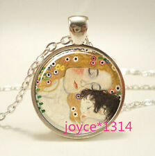 Mother and Child Cabochon Tibetan silver Glass Chain Pendant Necklace #598
