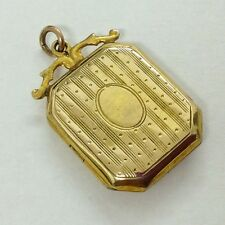 PRETTY ANTIQUE 9ct GOLD LOCKET WITH FANCY BAIL