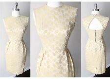 Vintage  50s Button Back Sheath Brocade Acorn Cocktail Party Mod Gogo Dress Xs