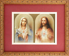 Sacred Heart Of Jesus and Immaculate Heart Of Mary Print in Frame Twin Hearts