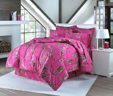 Realtree Hot Pink Full Comforter Set with Shams and Bedskirt