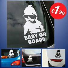 White Baby On Board Baby Child Window Bumper Car Sign Sticker 14.5 X 9cm Dude