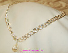 SILVER CELTIC/ELVEN CIRCLET WITH PEARL -  ALTERNATIVE TO A TIARA SCA RENAISSANCE