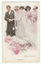 "Harrison Fisher Signed Postcard Glamorous Lady ""The Wedding"" R&N 188"