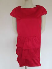 Jesire red cotton satin look dress,size 14 euro 42 brand new