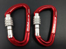 Karabiner clips pack of 2 carabiners. rock climbing caving, dog clip hammock RED