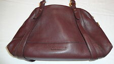 COLE HAAN CHOCOLATE BROWN LEATHER DOME SHAPED SATCHEL PURSE HANDBAG EUC