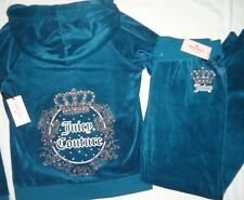 NWT JUICY COUTURE WOMENS TRACK SUIT SET 2 PC VELOUR PANTS HOODIE BLUE TEAL XL