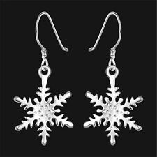 Xmas Decorations Women's 925 Sterling Silver Snowflake Dangle Earrings Studs