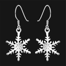Xmas Best Gifts Women's Silver Snow Snowflake Dangle Hook Earrings