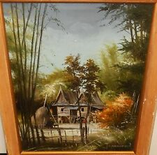T.SUWANNAGOON THAILAND VIALLGE ORIGINAL OIL ON CANVAS LANDSCAPE PAINTING