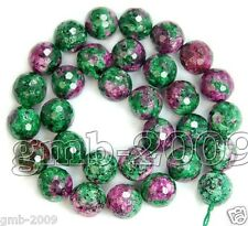 8mm Natural Faceted Green Ruby In Zoisite Round Gemstone Loose Beads 15""