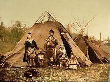 Vintage photographie couleur teinte Lapp tente familiale art Arctique Poster Print lv4908