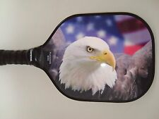 QUICK AT NET PICKLEBALL PADDLE WIDEBODY BALD EAGLE USA FLAG FIRE W400