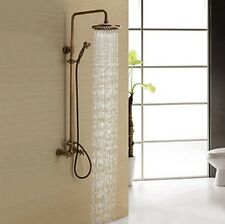 Antique Brass Shower Mixer Tap Faucet Set with 8 inch Shower Head + Hand Shower