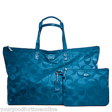NEW Coach XL Teal Getaway Nylon Packable Weekender Tote Duffle Travel 77316 DkPl