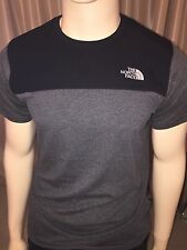 Bnwt homme the north face colour block t-shirt gris anthracite xxl rrp £ 30.