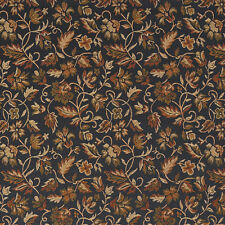E620 Floral Black Gold Green Damask Upholstery And Drapery Fabric By The Yard