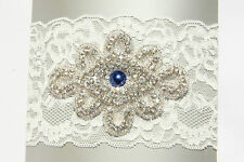 Vintage IVORY WEDDING garter for Bride crystal, stretchy lace, something blue