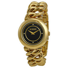 Versus by Versace Brickell Black Dial Gold Ion-plated Chain Link Ladies
