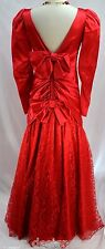 Amazing RED DRESS COCKTAIL Formal GOWN Shimmer Lace Mermaid Bow SIZE 7 8 VTG 80s