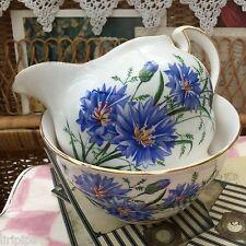 Royal vale Bone China 1960s Jarra de leche Sugar Bowl Set Azul Aciano Floral 7513