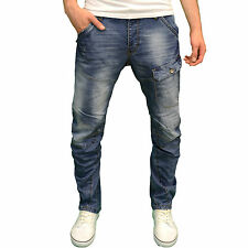 Crosshatch Mens Designer Branded Twisted Leg Tapered Fit Jeans, BNWT