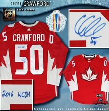 COREY CRAWFORD Signed 2016 World Cup of Hockey Team Canada Red Adidas Jersey