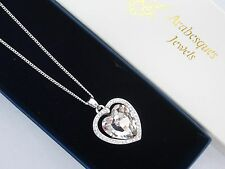 ARABESQUES JEWELS GENUINE CRYSTAL CLEAR BALLET HEART NECKLACE/PENDANT/CHAIN 45cm
