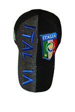 ITALIA ITALY BLACK COUNTRY FLAG FIGC LOGO FIFA WORLD CUP EMBOSSED HAT CAP .. NEW