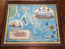 vintage wood framed map of the bahamas, 21.5 x 17.5 , paper backing ,bahamas map