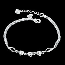 Fashion 925 Sterling Silver Women Charm Love Heart Beads Bracelet Bangle Jewelry