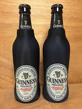 Guinness Draught Bottle Koozie Coozie Cooler Zip Up - Set of 2 - New & Free Ship