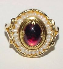 Vintage 14K Yellow Gold Pink Tourmaline Seed Pearl Cluster Ring Size 5.25 - 5.5