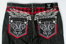 Victorious Black Urban Couture Hip Hop Embellished Baggy Jeans Size 44 x 32